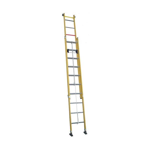 Escalera dos tramos de fibra extensible con cuerda xtrememarkt - Escalera dos tramos ...